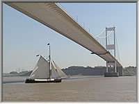 The Spry passing under the Severn Bridge